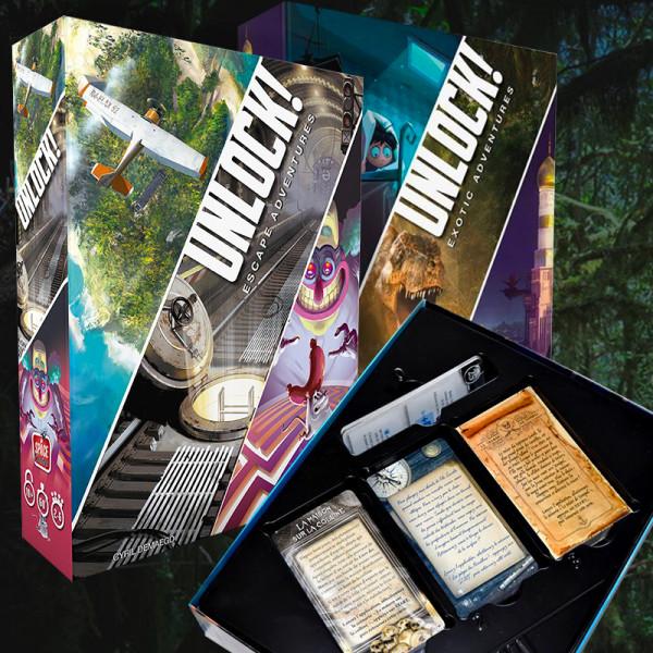 UNLOCK Escape Game - Jeux de société à la mode UNLOCK - Jeux Escape Game - 3 Thèmes par Boîte - ASMODEE